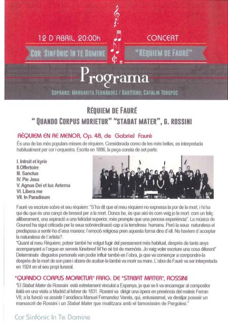 """CORO SINFÓNICO IN TE DOMINE """"Requiem en Re menor"""" de G. Fauré"""