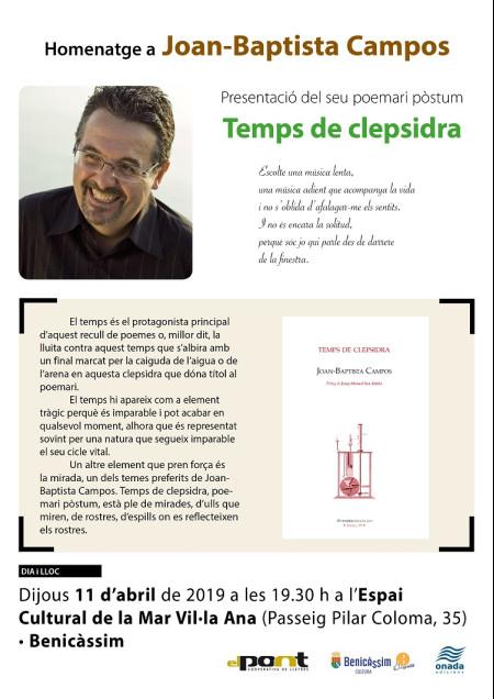 PRESENTACIÓN DEL LIBRO TEMPS DE CLEPSIDRA