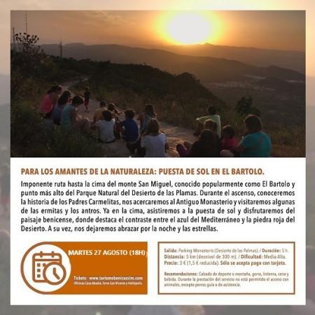 Programa oficial de visitas guiadas: puesta de sol en el Bartolo