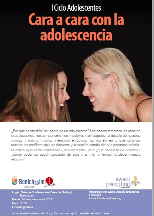 """I ciclo """"Adolescencia"""", charla """"Cara a cara con la adolescencia"""""""