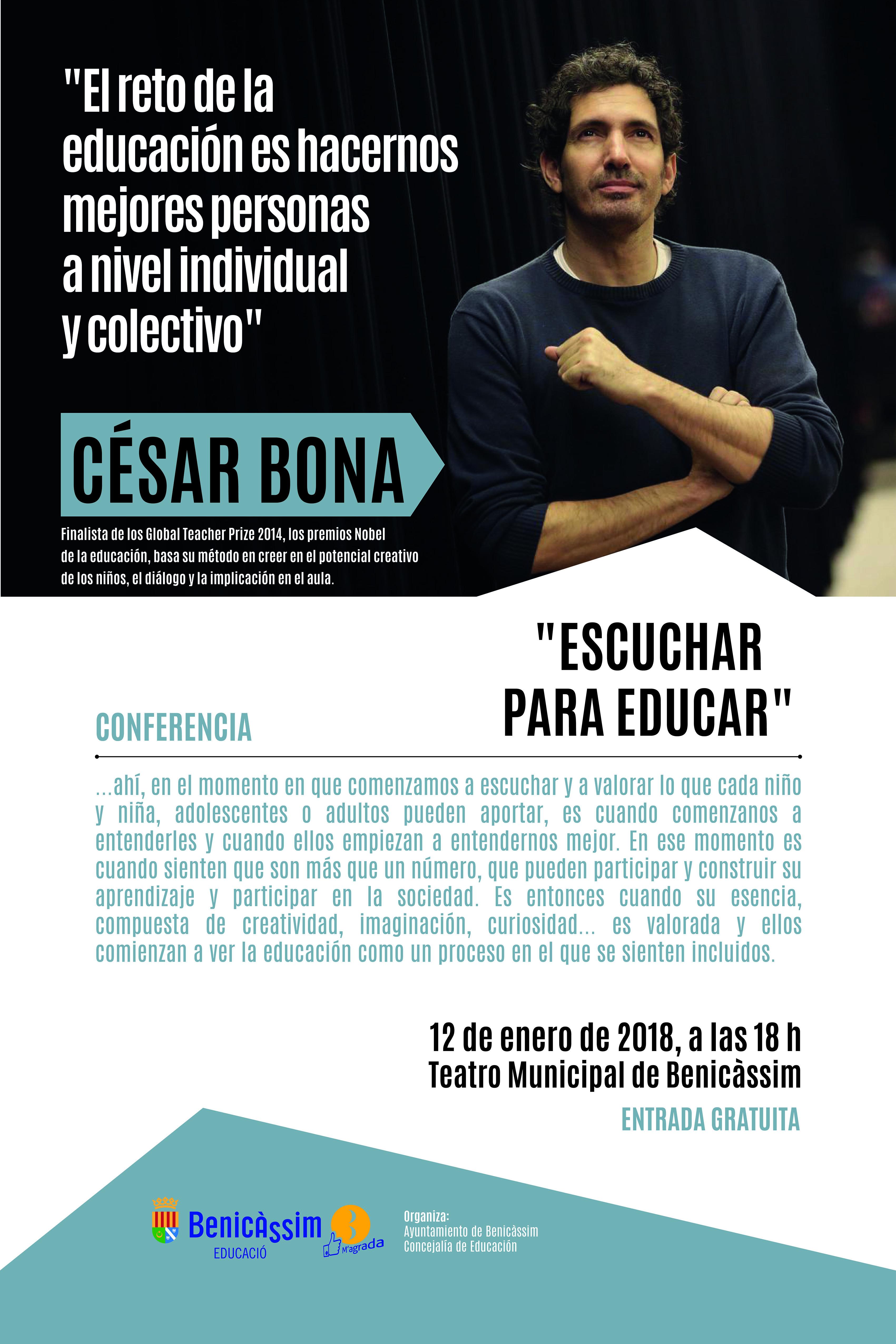 """Conferencia """"Escuchar para educar"""" con César Bona"""